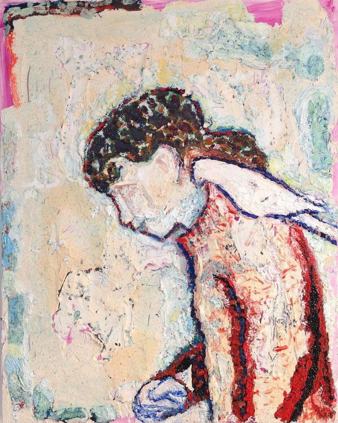'Girl with Cockatiel' Anna Hansford Oil on canvas, 51 x 41 cm