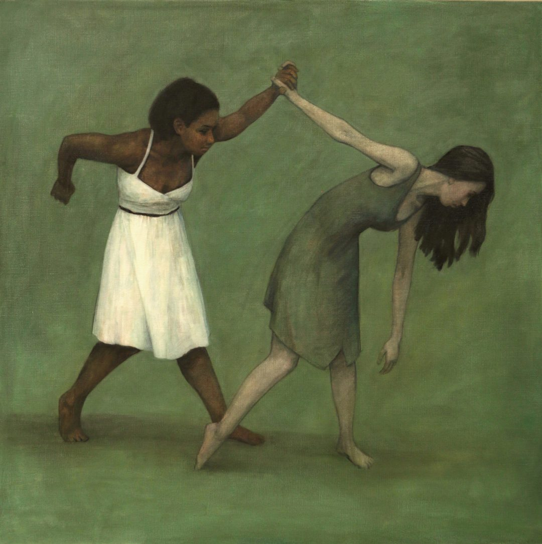 'Gwenllian Davies and Krystal Lowe 12' Carl Chapple Oil on canvas,120cm x 120cm, 2017