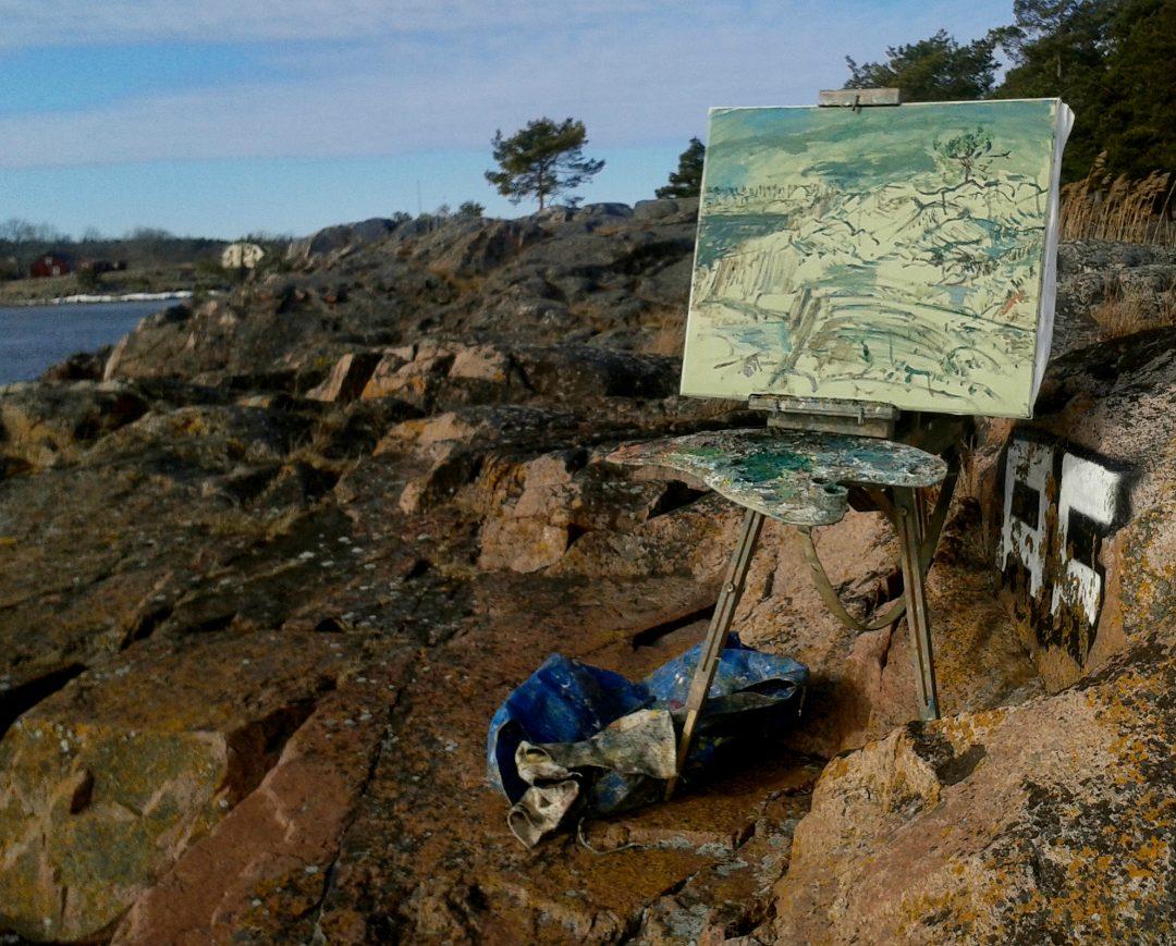 John Maclean: 'Rock Formation at Grisslehamn' in progress