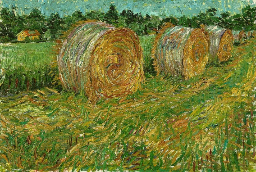 'Rolls of Wheat' John Maclean Oil on canvas, 70 x 53 cm, 2016