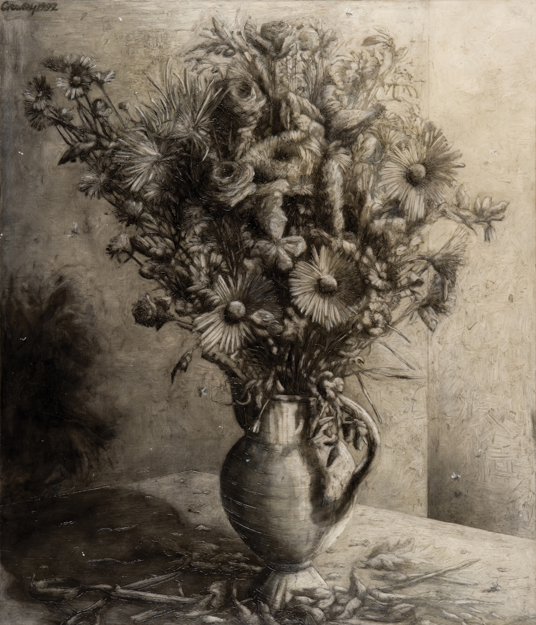 'Flower Arranging (1)' <br /> Graham Crowley <br /> Oil on Canvas, 178cm x 152cm, 1988/92