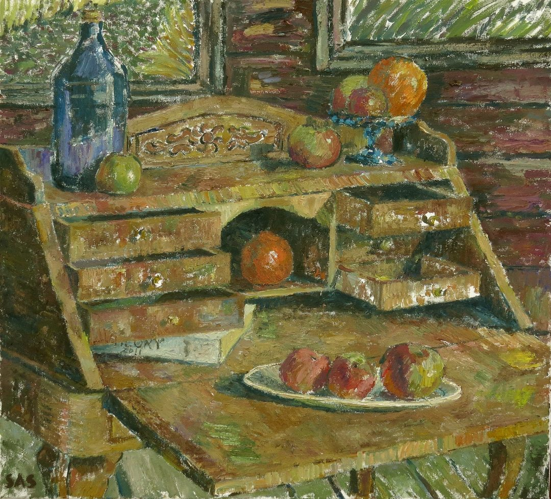 'Still Life with Bureau' John Maclean Oil on canvas, 65 x 59 cm, 2017