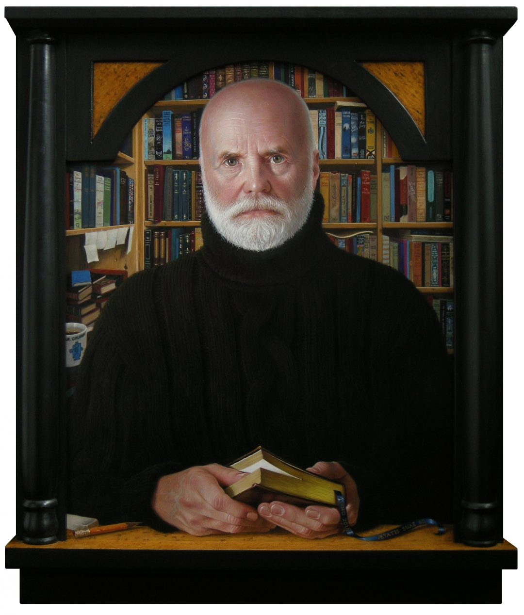 "'The Bookseller' Leslie Watts Egg tempera on panel, 20 x 16"" in a frame made by the artist, 2017"