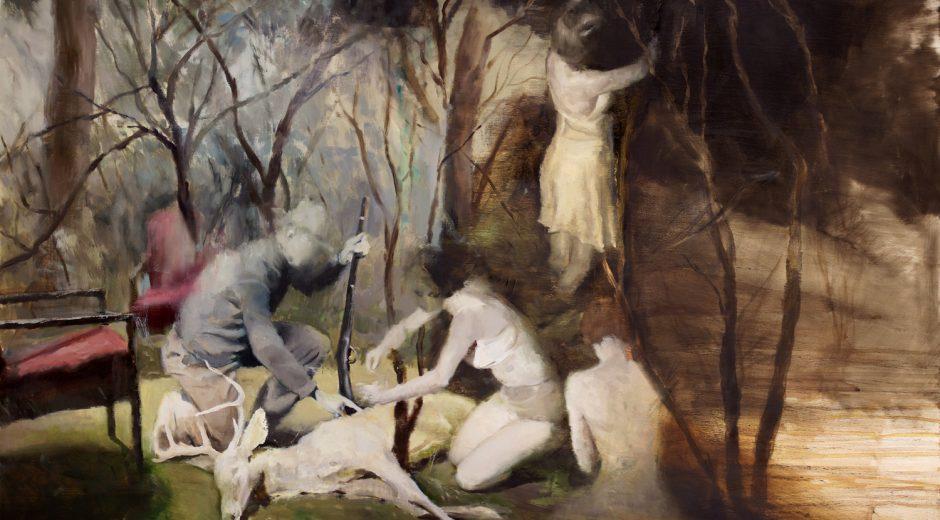 """'The Volunteers' Joshua Flint Oil on wood panel, 30"""" x 40"""", 2016"""