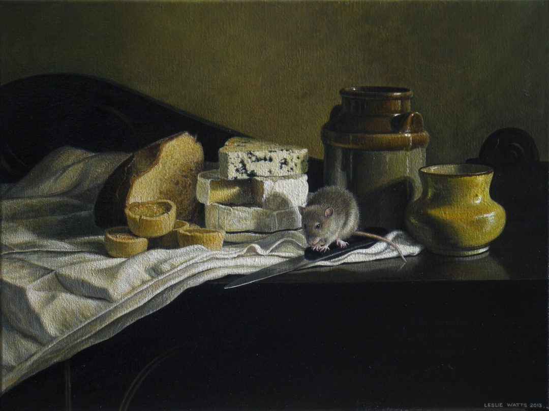"'Still Life with Cheese' Leslie Watts Acrylic on canvas, 18 x 24"", 2013"