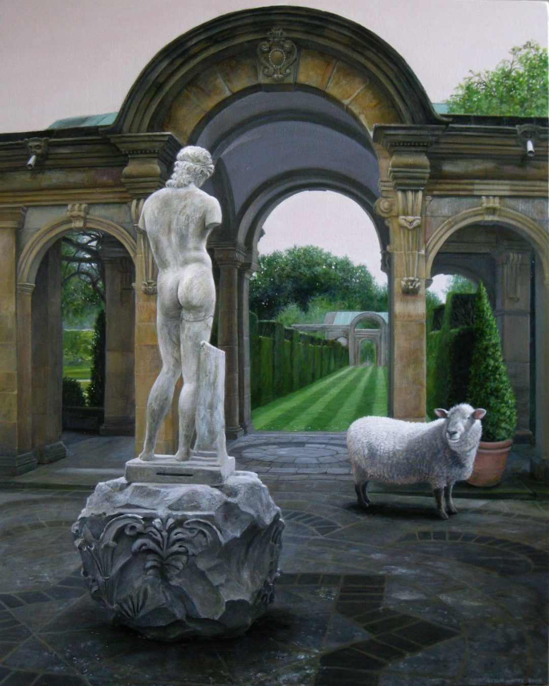 "'The Gardens at Hever' Leslie Watts Acrylic on birch panel, 36 x 30"", 2014"