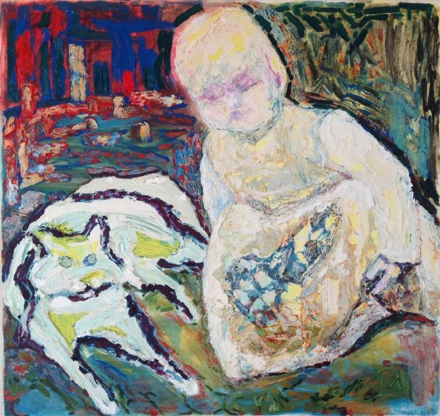 'Child and Cat' Anna Hansford Oil on canvas, 105cm x 105cm