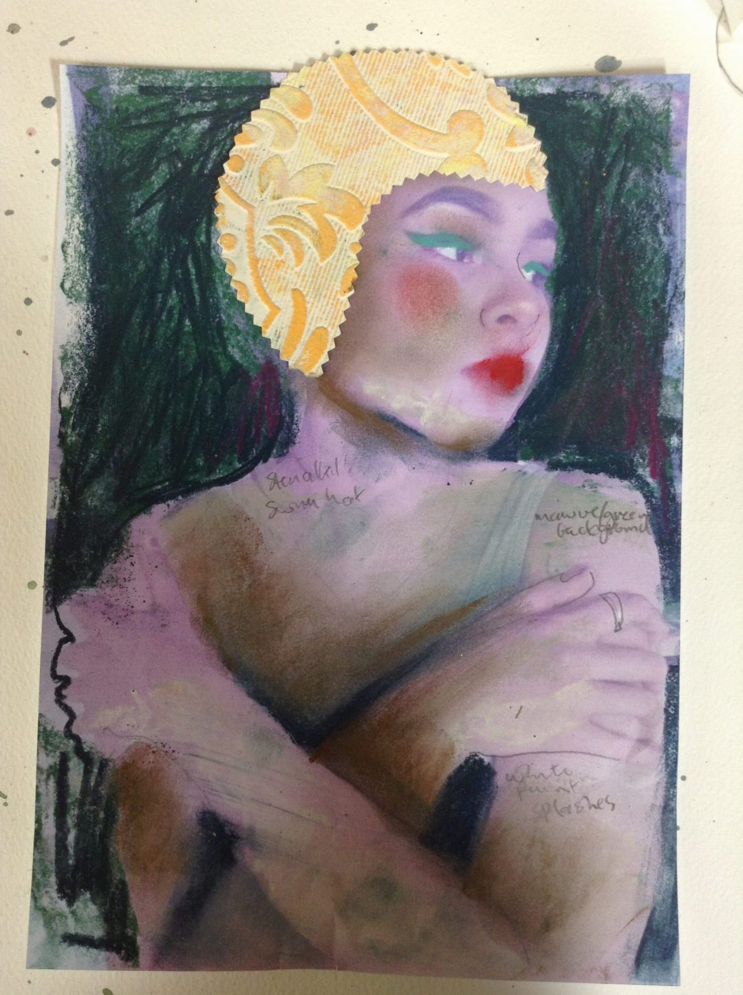 Collaged study for painting Margie Andrew-Reichelt Mixed media on paper, 30x21cm