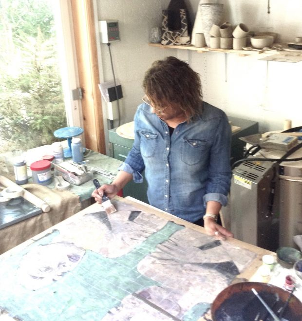 Margie Andrew-Reichelt at work in the studio