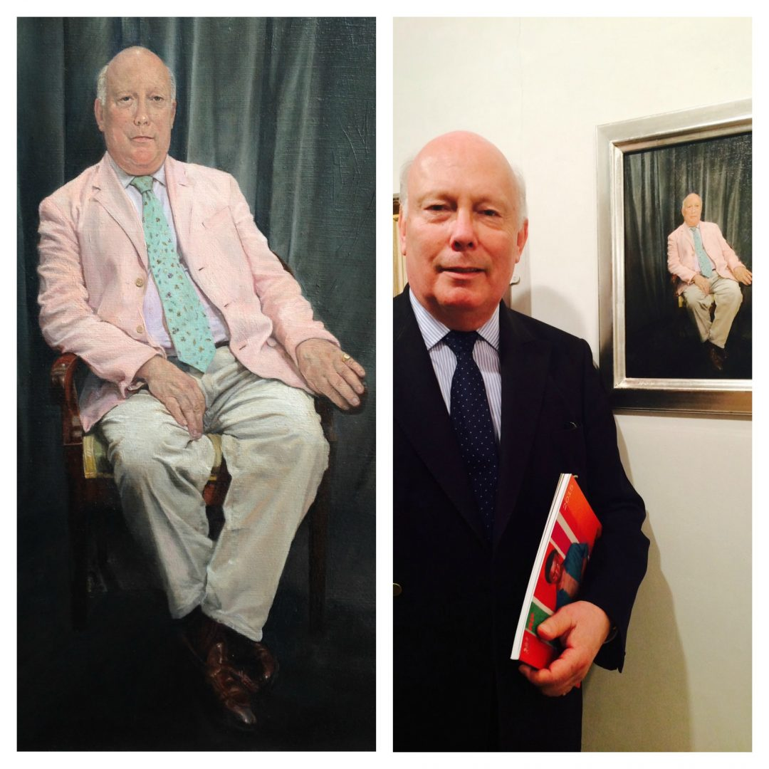 'Lord Julian Fellowes' (detail) by Teri Anne Scoble, a portrait started as part of the Sky Arts Portrait Artist of the Year Competition, was subsequently exhibited at the Royal Society of Portrait Painters Exhibition 2015. Right: Lord Julian Fellowes with the finished portrait