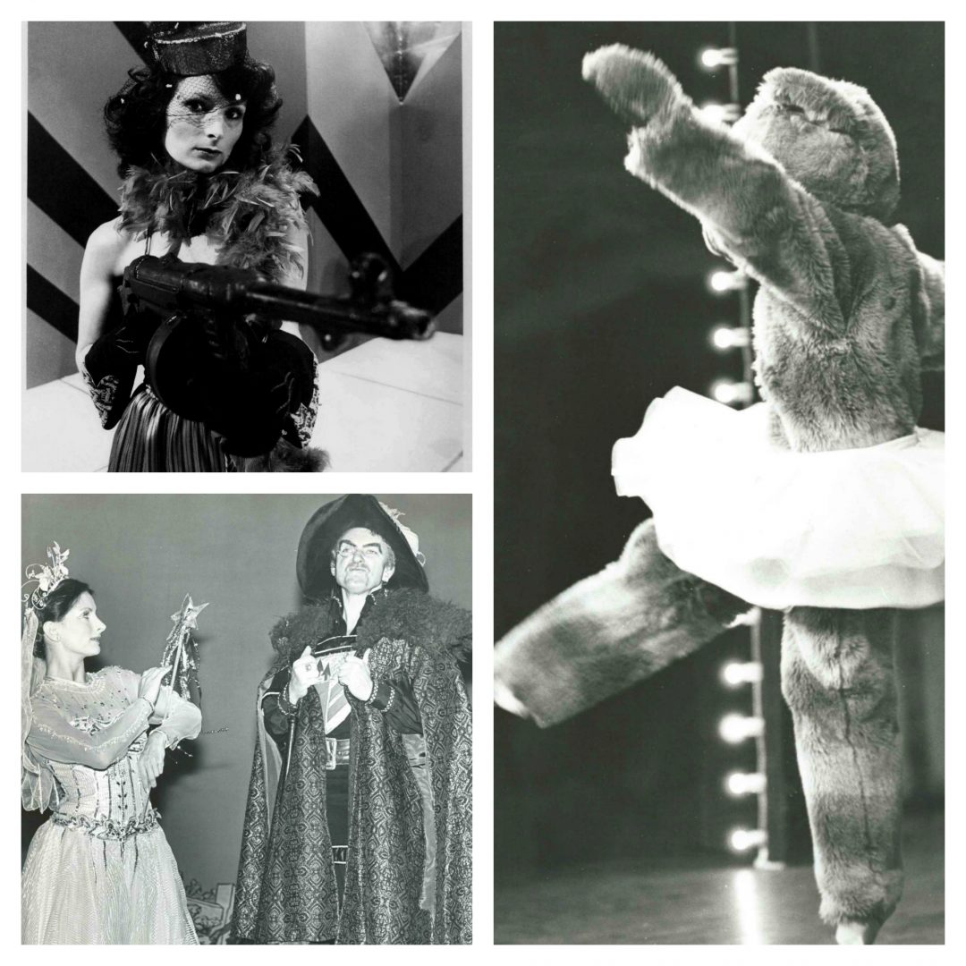 Top left: As Ma Baker in Paul (Paul Nicholas Show) 1978; bottom left: Playing 'Good Fairy' opposite 'Villain' actor Peter Byrne in panto; Right: Playing 'Mummy Bear' in 'Goldilocks and the Three Bears' starring Dick Emery at Wimbledon Theatre.
