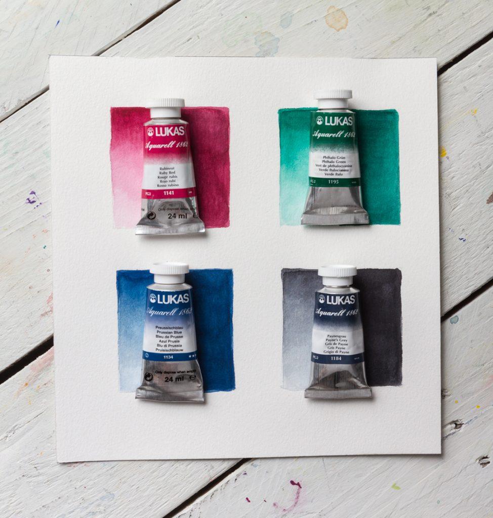 cores de aquarela e tubos de aquarela