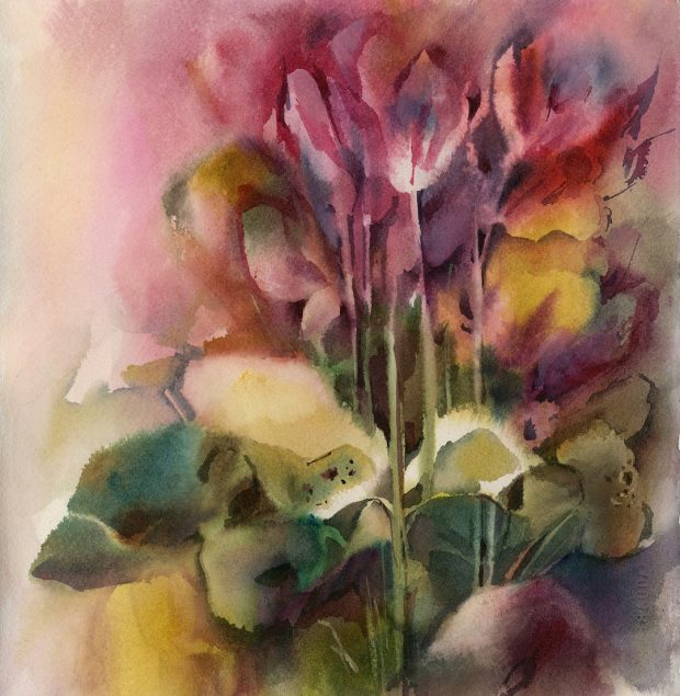'Cyclamens' Sophie Rodionov Watercolour on Saunders Waterford Rough Paper 140lb, 12 x 12""
