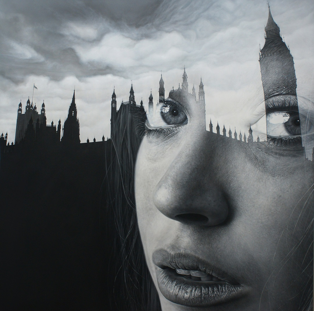 'Memoirs of Westminster' Simon Hennessey Acrylic on canvas, 107cm x 107cm, 2015