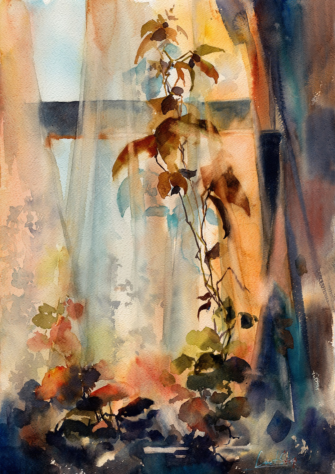 'Morning Through Curtains' Sophie Rodionov Watercolour on Fabriano Rough 140lb, 12 x 18""