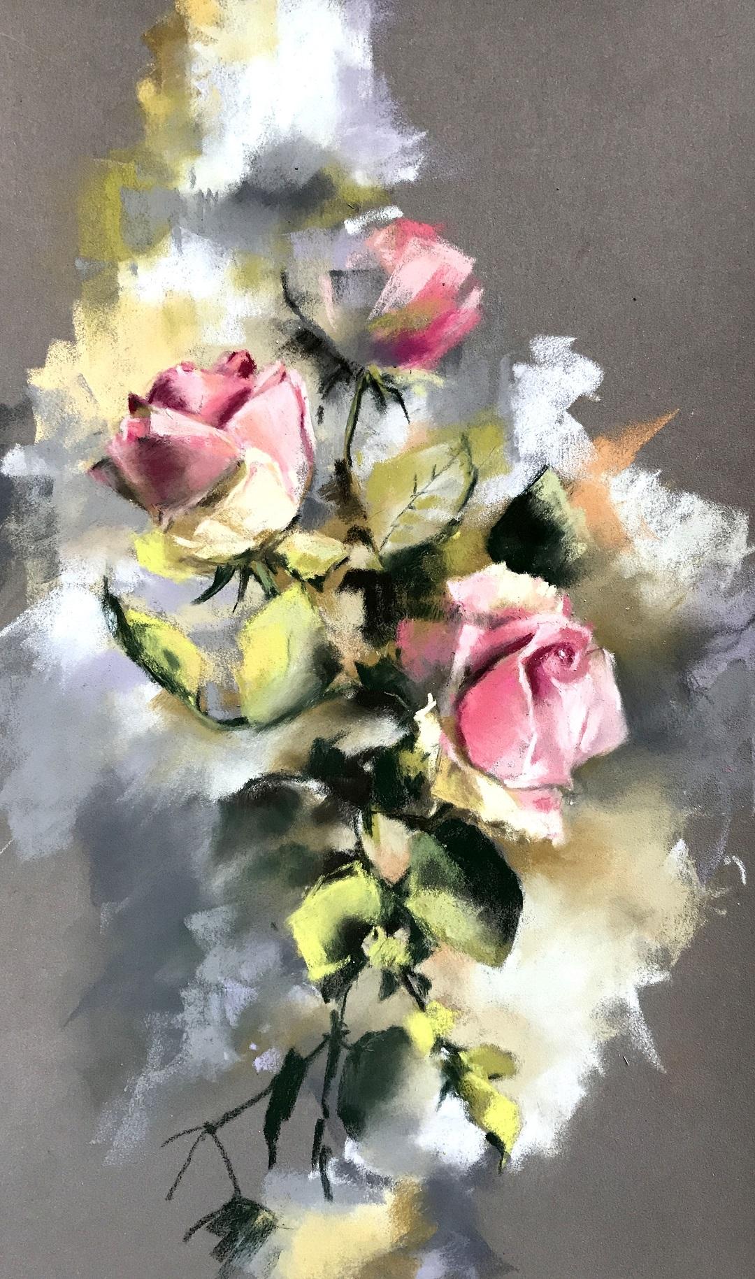 "'Roses' Sophie Rodionov Soft pastels on Pastelmat, 6 x 12"", 2017"