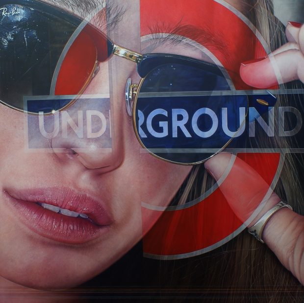 'Underground Distortion lines' Simon Hennessey Acrylic on Canvas, 107cmx 107cm, 2015