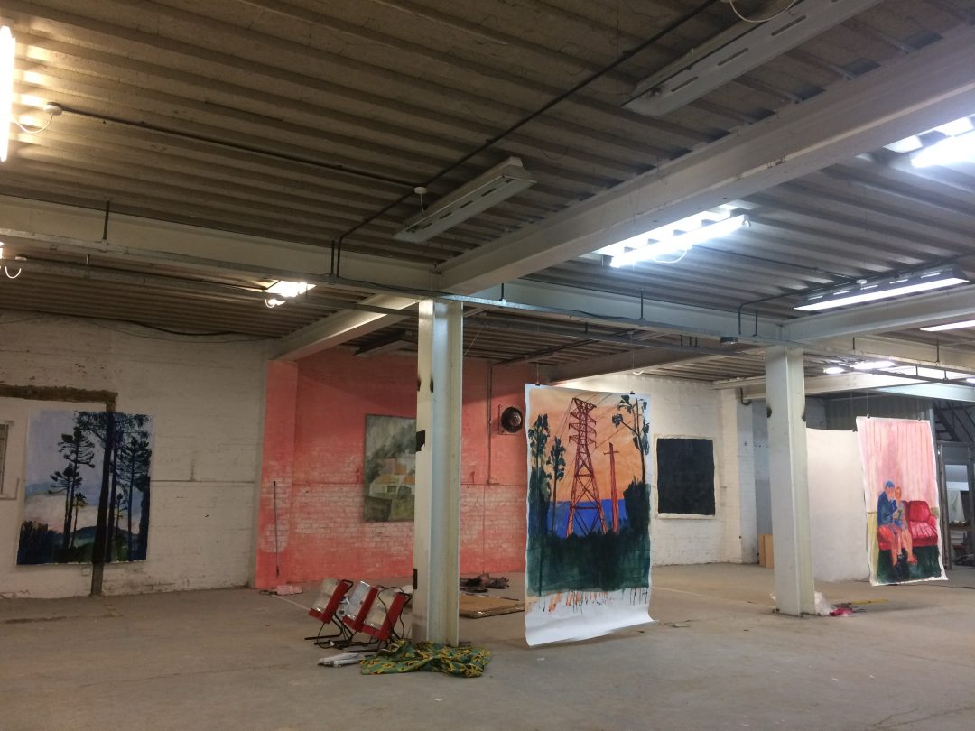 Large paintings on paper by Elizabth McCarten suspended at a 48 hour takeover in Clacton, March 2017