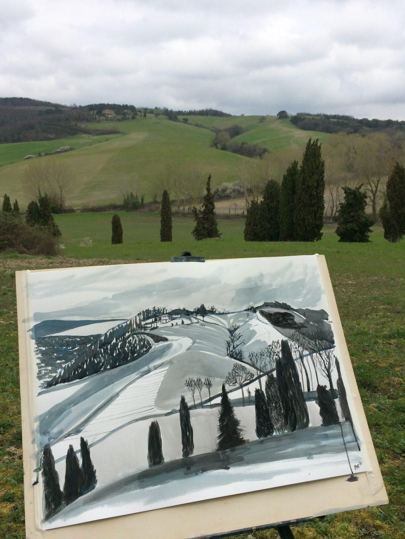 Borgo Pignano - Drawing Across the Hills Elizabeth McCarten Ink on Paper