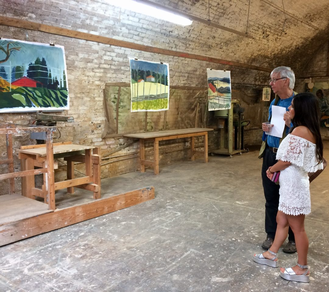 Elizabth McCarten with Timothy Hyman RA at a Pop Up Painting show in Brixton Railway Arches, August 2017
