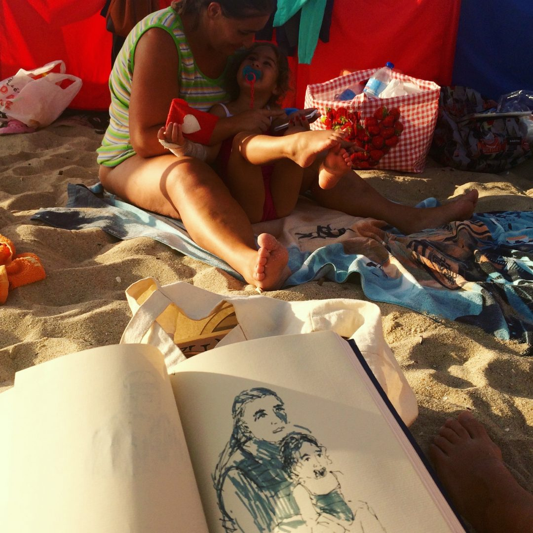 Drawing mother and child in a Fabriano sketchbook, Portugal 2016 Elizabeth McCarten