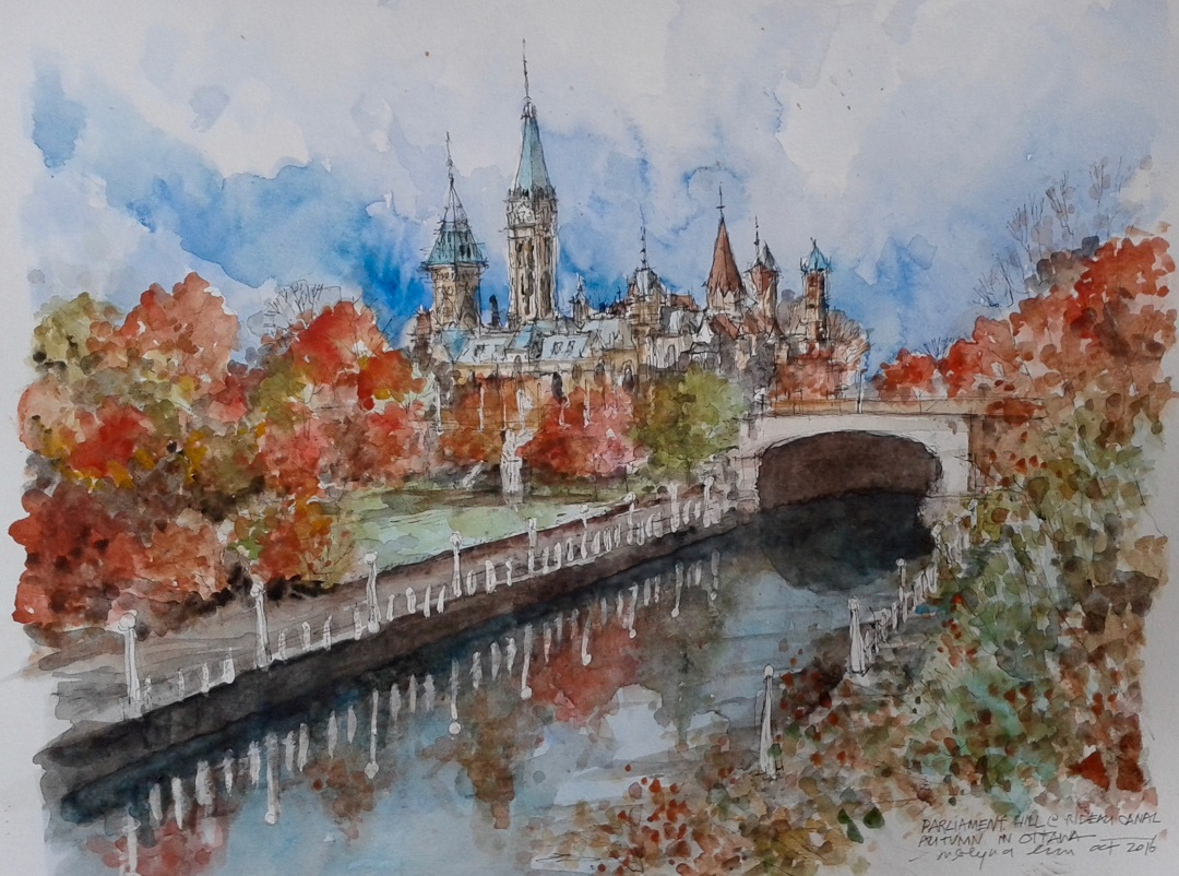 "'Autumn in Ottawa' Merlyna Lim Ink & watercolour, 11"" x 17"", 2016"