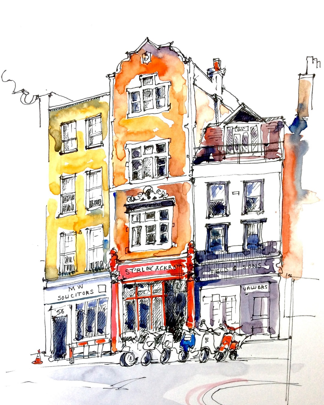 Borough High Street, London, March 2016 Katie Clare Pen and Wash, drawn in the artist's Moleskine watercolour sketchbook, 13 x 21 cm