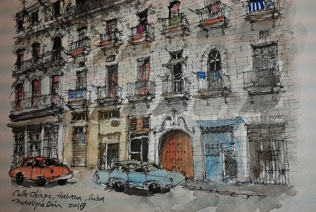 "'Calle Obispo, Havana' Merlyna Lim Ink & Watercolour, 8"" x 10"", 2015"