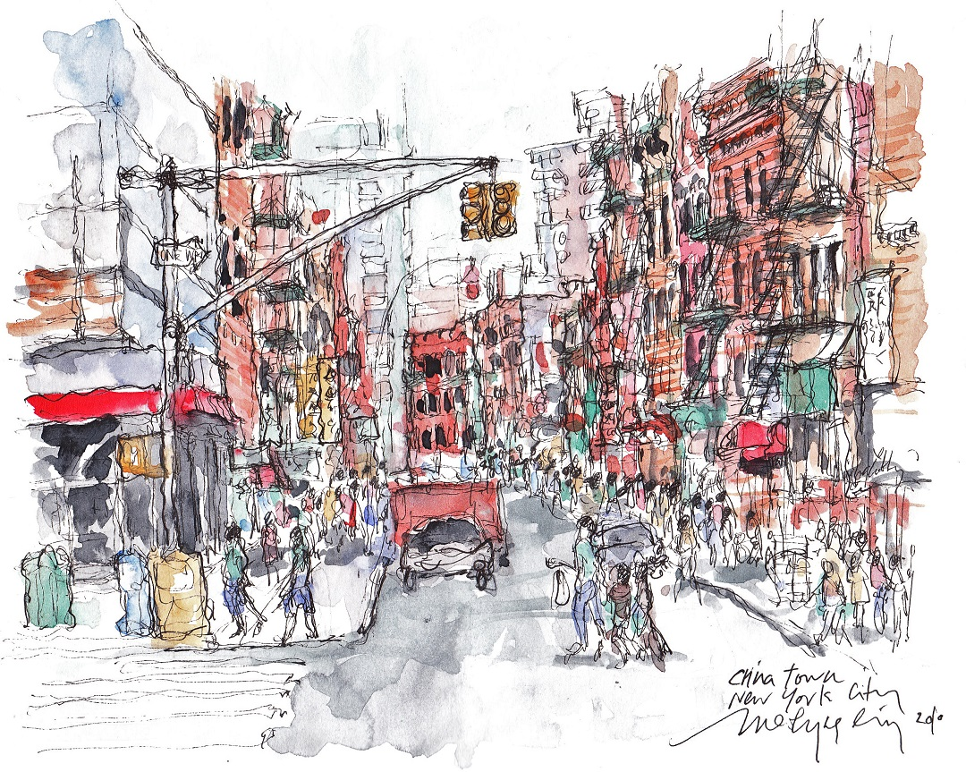 "'Chinatown, New York' Merlyna Lim Ink & Watercolour, 11"" x 17"", 2010"