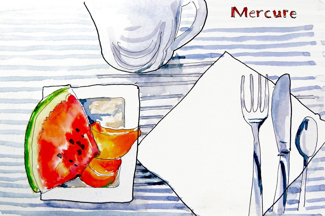 Mercure Lille Breakfast, August 2016 Katie Clare Pen and Wash, drawn in the artist's Moleskine watercolour sketchbook,13 x 21 cm