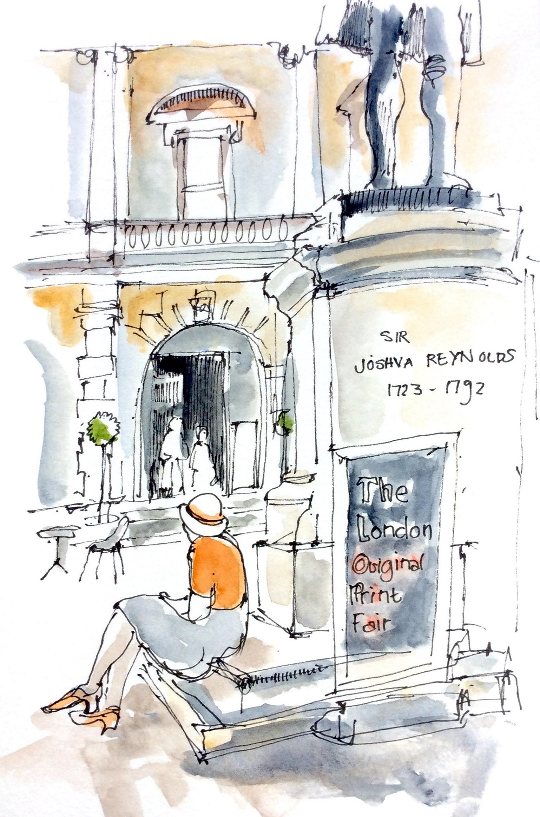 Royal Academy, Lady at the Print Fair, May 2017 Katie Clare Pen and wash, drawn in the artist's Moleskine watercolour sketchbook, 13 x 21 cm