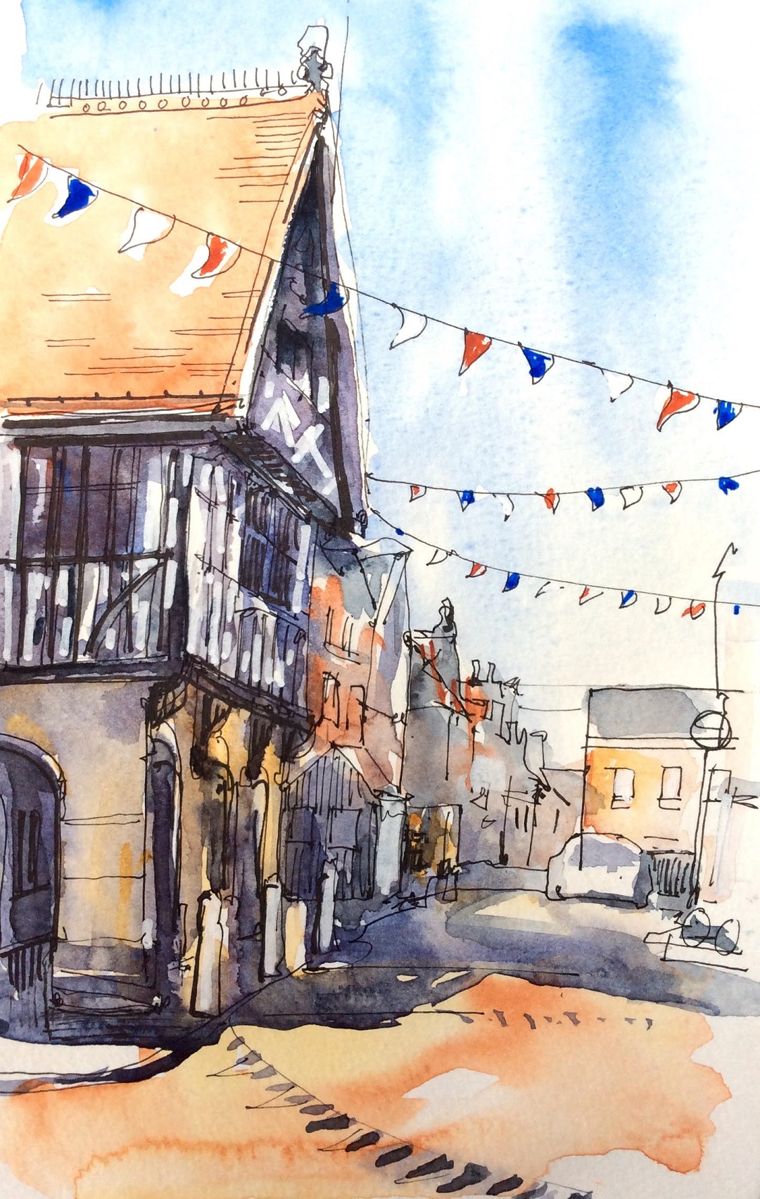 Saffron Walden, Essex, July 2017 Katie Clare Pen, wash and marker pen, drawn in the artist's Moleskine watercolour sketchbook, 13 x 21 cm