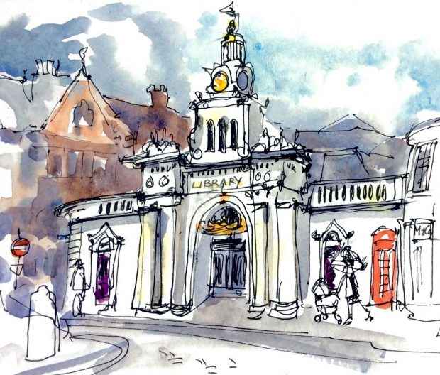 Saffron Walden Library, Essex, April 2017 Katie Clare Pen and Wash, drawn in the artist's Moleskine watercolour sketchbook,13 x 21 cm
