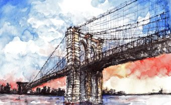 "'Sunset at the Brooklyn Bridge, New York' Merlyna Lim Ink & Watercolour, 11"" x 17"", 2010"