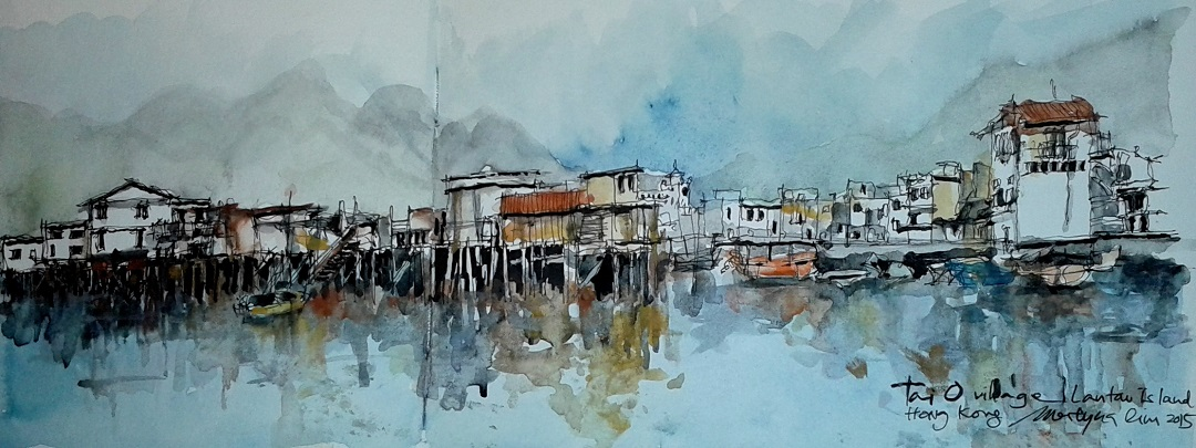 "'Tai O'Village, Lantau Island Hong Kong' Merlyna Lim Ink & Watercolour, 22"" x 8"", 2015"