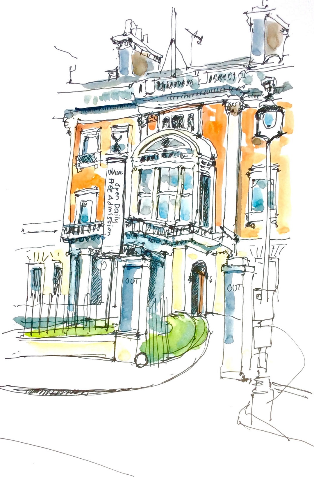 Wallace Collection, London, February 2016 Katie Clare Pen and wash, drawn in the artist's Moleskine watercolour sketchbook, 13 x 21 cm