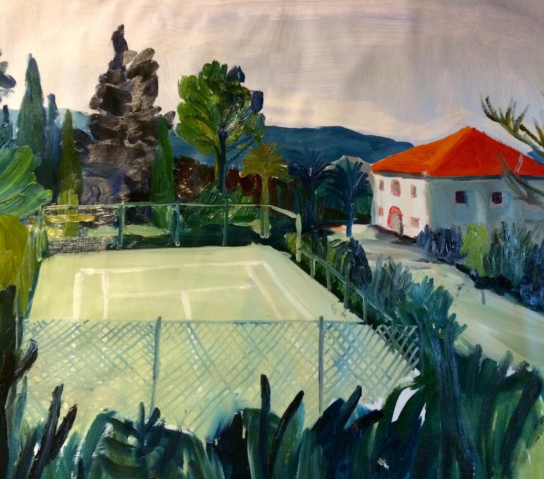 'The Neighbours' Elizabeth McCarten Oil on primed paper, 600mm x 600mm, 2017