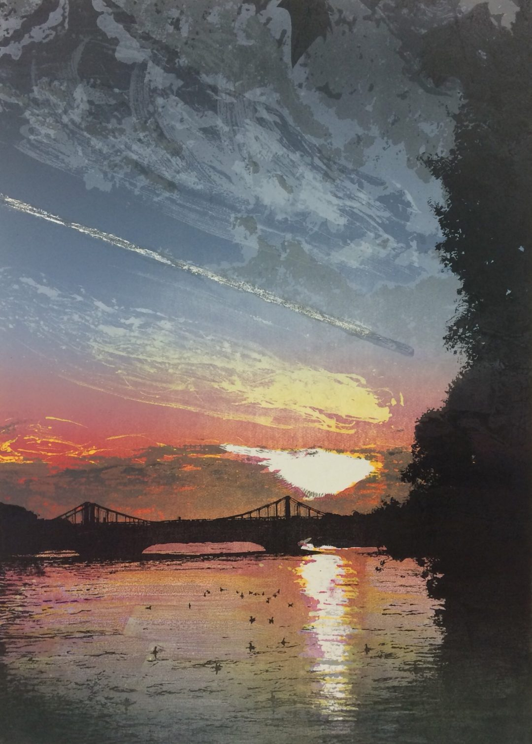 'Chelsea Bridge - sunset' Steve Edwards Etched and cut lino, Variable edition of 30 (28 available)