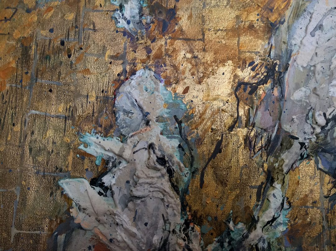 'KGX' (close-up) Zosia Olenska Mixed-Media with plaster/maché impasto, full size 140cm x 100cm, 2016