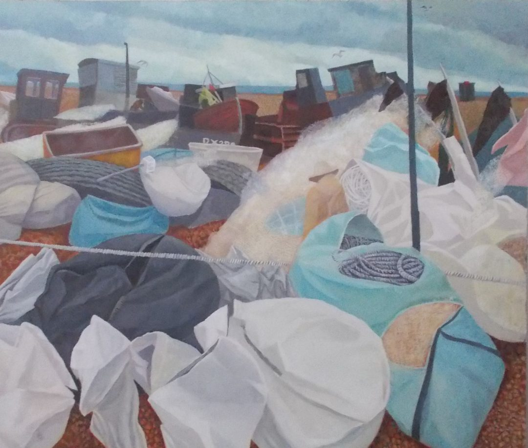 'Nets at Wisley' Michael Collins Egg Tempera, 35 x 80 cm, 2014