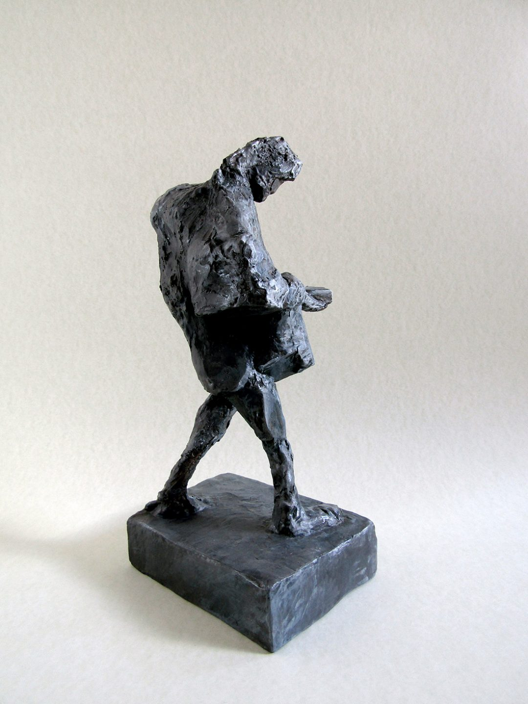 'Public Observation: Figure with Phone II' Zosia Olenska Painted Plaster, 25cm on a base 9.5cm x 12.5cm, 2017