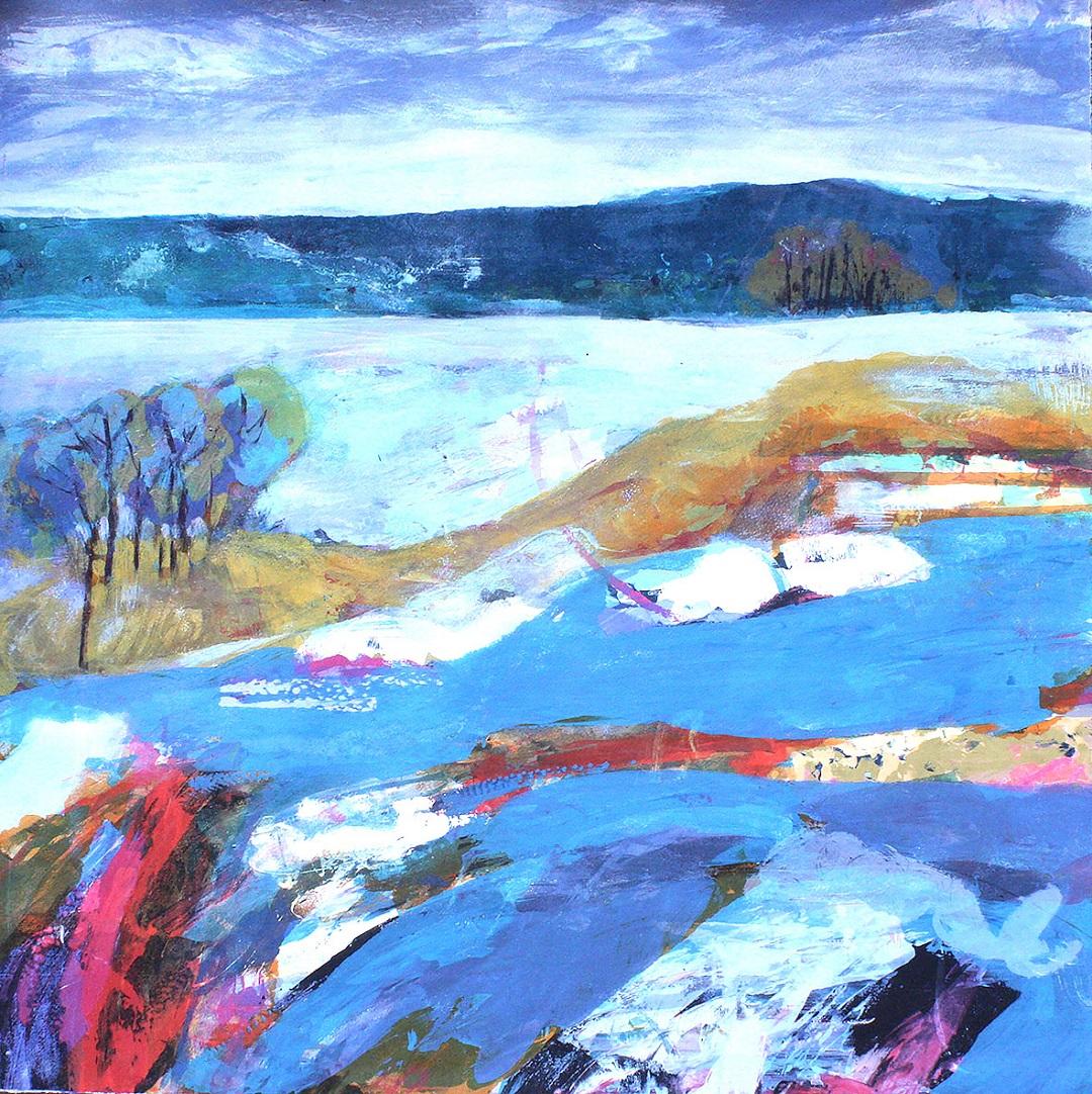 'River Running' Gail Mason Silkscreen Monotype, 75cm x 75cm