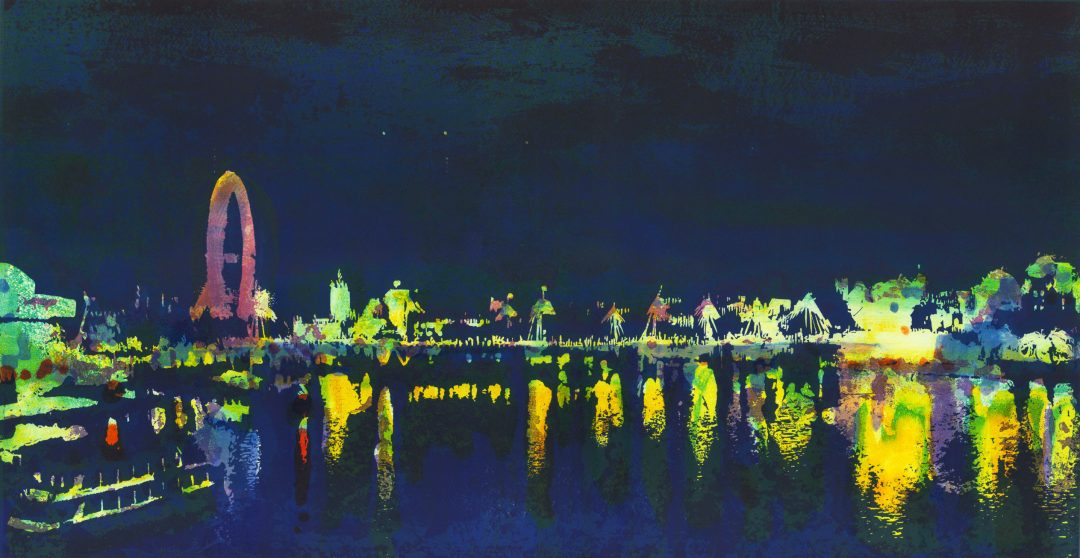 'Waterloo Night - West' Steve Edwards Monoprint and Lino, 46 x 90cm, variable edition of 25 (18 available),