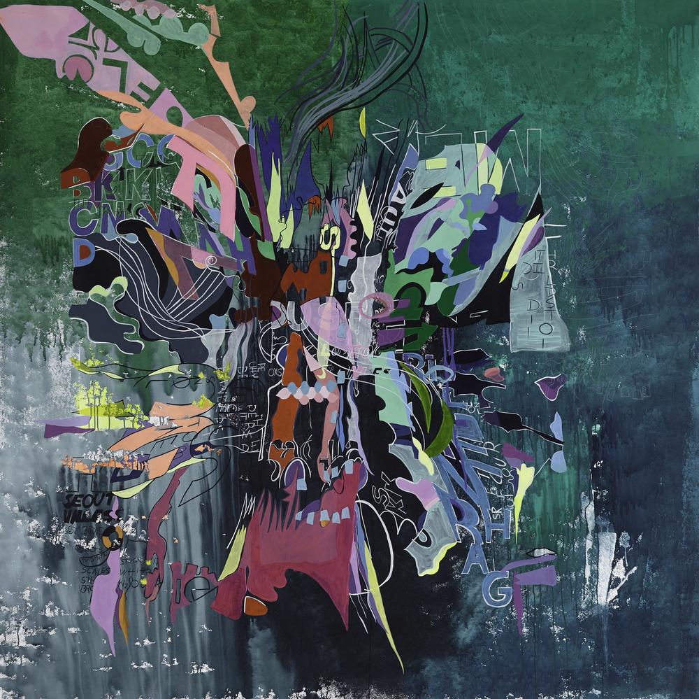 """'A-diccion' Paula Nahmod Acrylic on canvas, 78"""" x 78"""", 2015"""