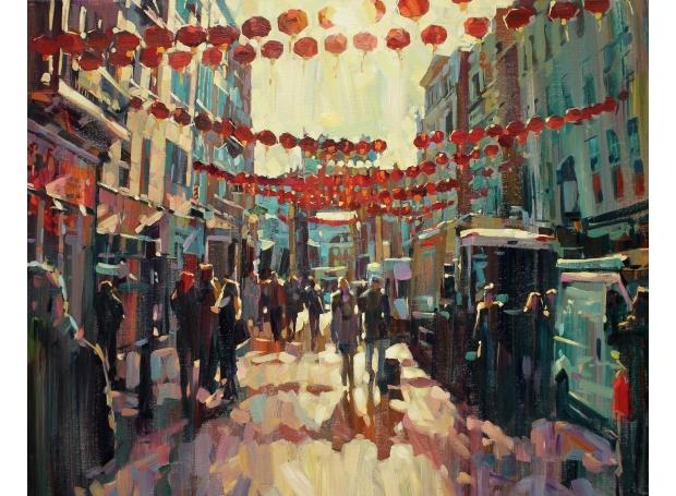 Akib Hashim, Red Lanterns, Acrylic 66 x 82 cm