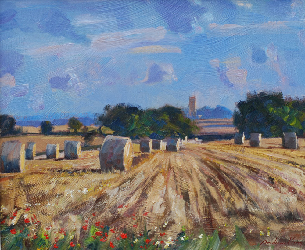 Andrew King, Harvest Fields, North Norfolk Oil on Board 27x33cm