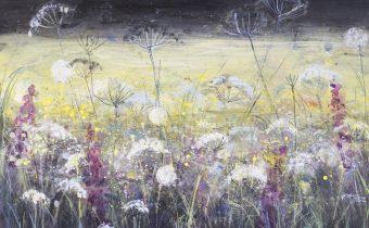 'Wild Meadow, Dark Sky and Yellow Field' Ann Oram Acrylic on Board, 51x61cm, 2017