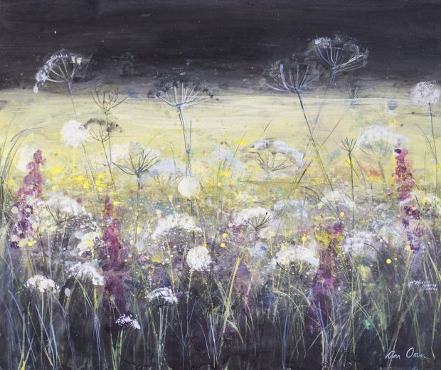 'Wild Meadow, Dark Sky and Yellow Field' Ann Oram Acrylic on Board, 51x61cm, 2017