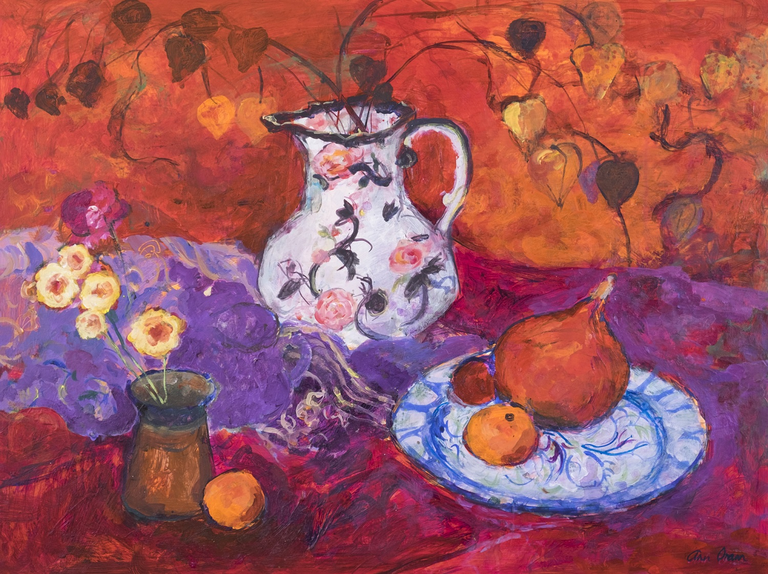 'Red Still Life with Chinese Lanterns' Ann Oram Acrylic on Board, 46x61cm, 2017