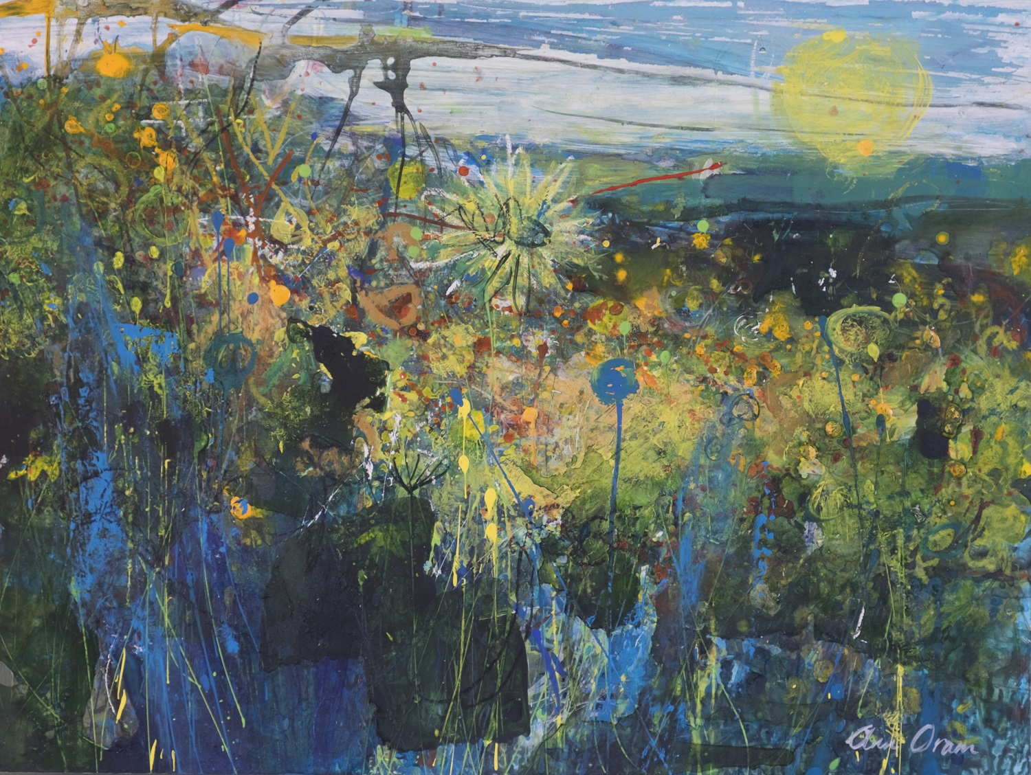 'Miss Jekyll's Garden on Holy Island' Ann Oram   Acrylic and ink on board, 31x41cm, 2017